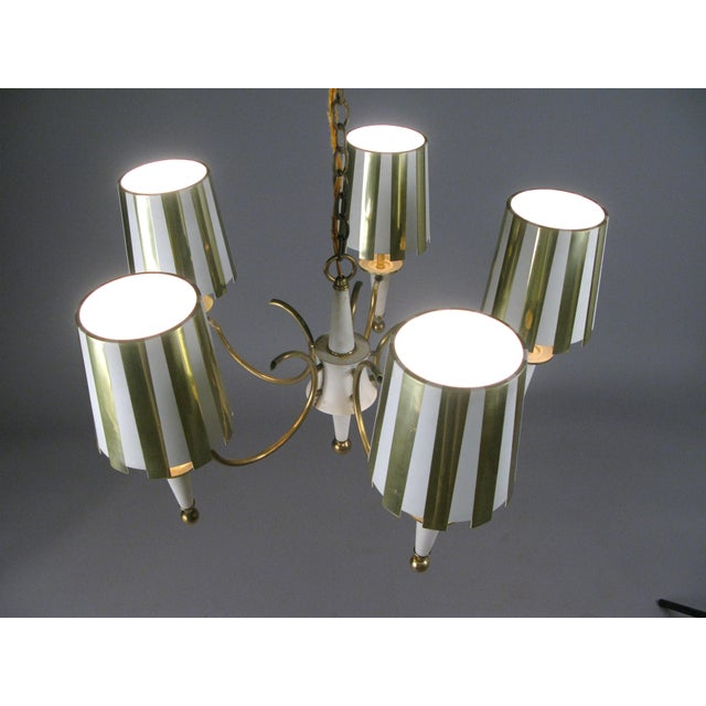 1960s 1960s Brass & White Lacquer Five-Light Chandelier For Sale - Image 5 of 6