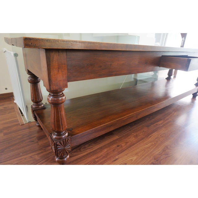 Large 19th Century Spanish Refectory Walnut Farm Table or Console For Sale - Image 10 of 11