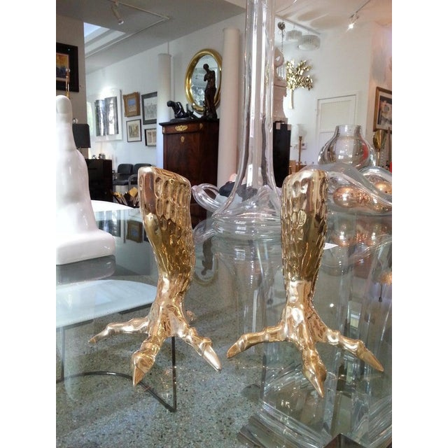 Metal Brass Eagle Talon Candlesticks 1960s Italy - a Pair For Sale - Image 7 of 11