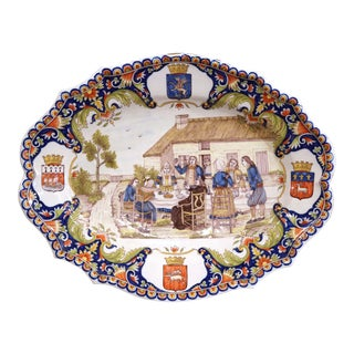 Large 19th Century French Hand-Painted Oval Faience Wall Platter From Brittany For Sale