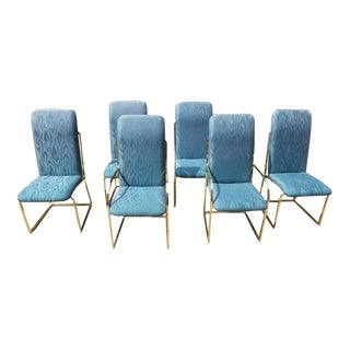 1970s Vintage Design Institute of America Dia Brass Frame Dining Chairs- Set of 6 For Sale
