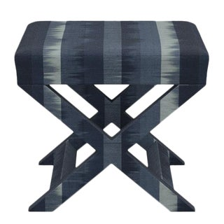 X Bench in Indigo Ikat Stripe For Sale
