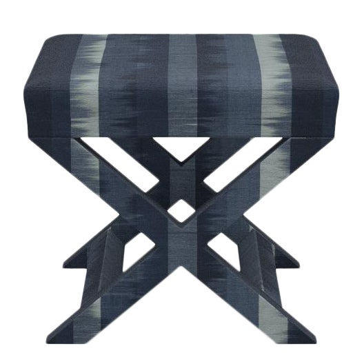 X Bench in Indigo Ikat Stripe For Sale