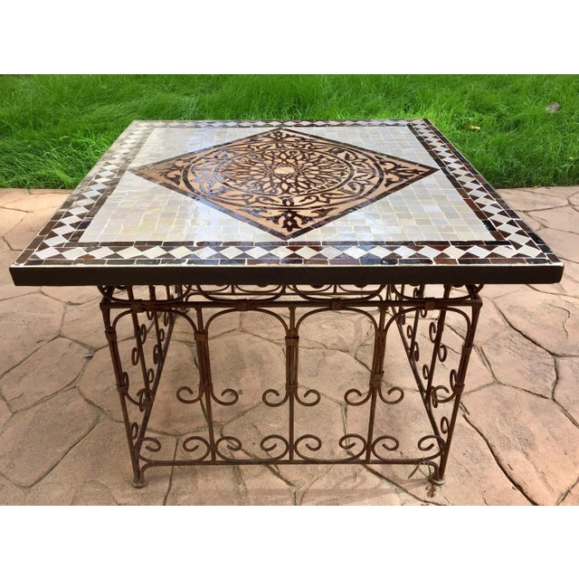 Moroccan Square Brown and Grey Mosaic Tile Coffee Table on Iron Base For Sale - Image 4 of 12