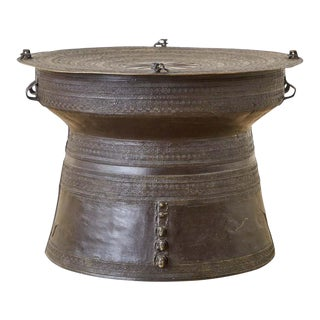 Southeast Asian Bronze Rain Drum Table or Frog Drum For Sale