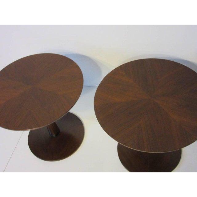 Kipp Stewart Kipp Stewart for Drexel Declaration Walnut Pedestal Side Tables For Sale - Image 4 of 7