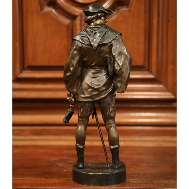 """Gold 19th Century French Patinated Bronze Figure """"L'escholier"""" Signed Emile Picault For Sale - Image 8 of 10"""