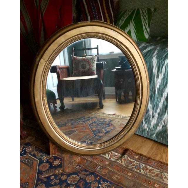 This is a most beautiful large, heavy vintage oval mirror with gilt gesso frame circa 1900. What I love about this mirror...