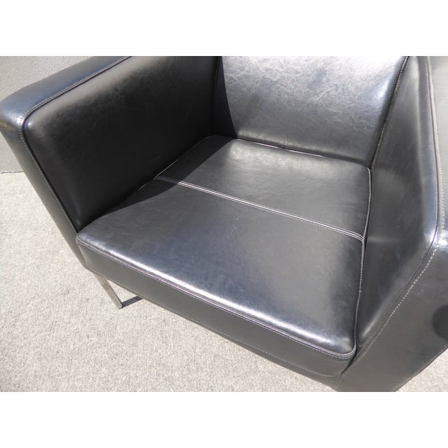 Contemporary Red Pu Chrome Accent Chair Ottoman: Contemporary Black Leather Chrome Accent Chair