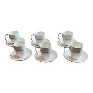 Vintage White and Silver Porcelain Demitasse Cups and Saucers - Set of 6 For Sale