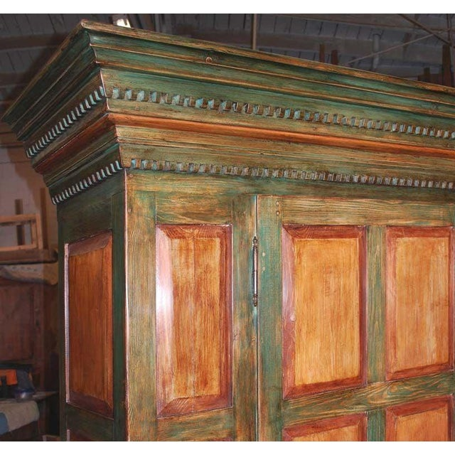 Baroque Large Green and Red Painted Armoire For Sale - Image 3 of 10