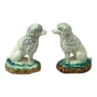 Pair of Majolica Poodle Onnaing Circa 1900 For Sale