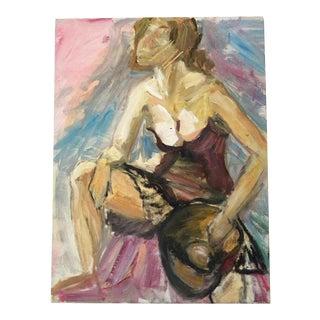 Original Expressionism Oil Painting of Cabaret Dancer For Sale
