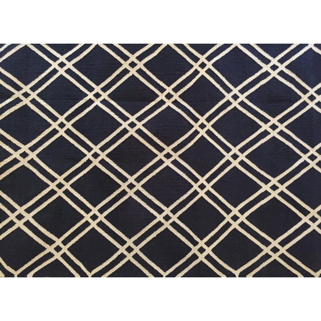Custom Made Trellis Cotton Dhurrie Rug - 8' X 10' - Image 3 of 5