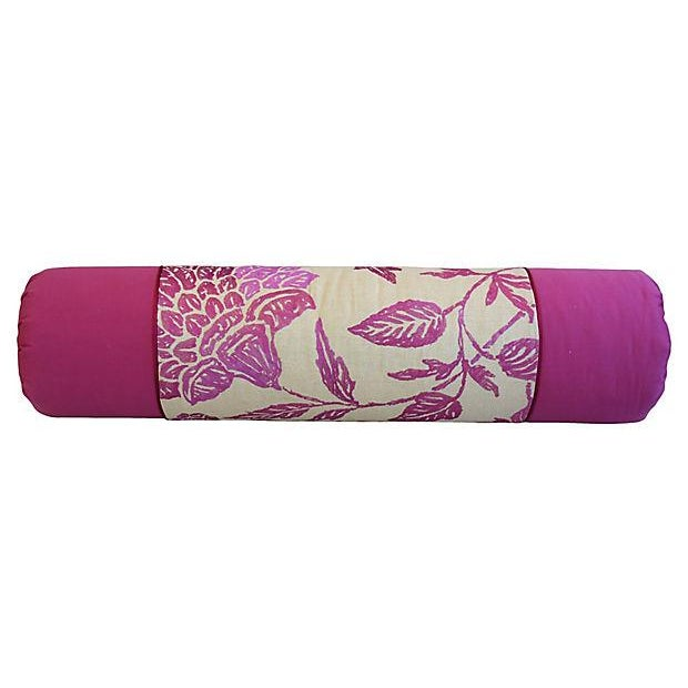 Custom Tailored English Embroidered Linen Bolster Feather/Down Pillow For Sale In Los Angeles - Image 6 of 12