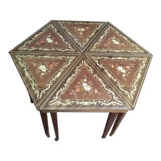 Italian Inlaid Triangular Tables With Reuge Music Boxes - Set of 6 For Sale