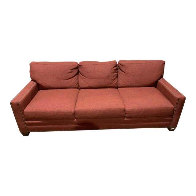 Bassett Furniture Crimson Sofa With Nail-Heads For Sale