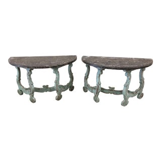 18th C Italian Tuscan Demi Lune Painted Console Tables - a Pair For Sale