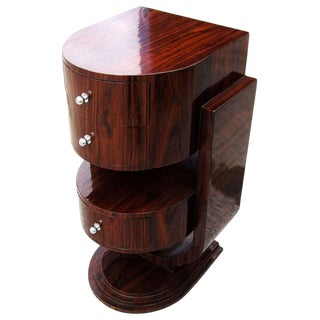 ]Vintage Walnut Art Deco Style Side Table Nightstand For Sale