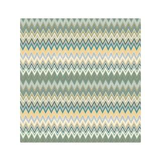 Scalamandre Zig Zag Multicolore Panel, Teal Gold Wallpaper For Sale