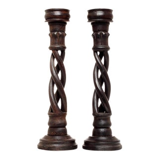 Vintage Indian Wooden Candlesticks with Spiral Design, 20th Century - A Pair For Sale