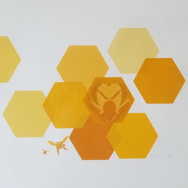 Signed serigraph of bees and hexagons. Circa 1960s