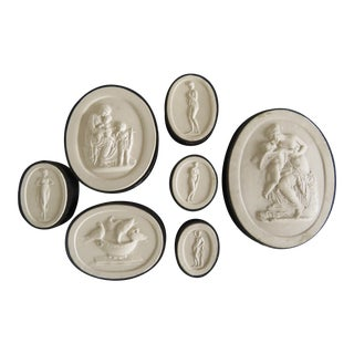 19th Century Grand Tour Neoclassical Plaster Intaglios - Set of 7 For Sale
