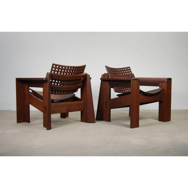 Pair of Solid Walnut Lounge Chairs For Sale - Image 10 of 10