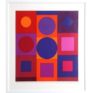 "1960s Victor Vasarely, ""Granat"", Op Art Screenprint For Sale"
