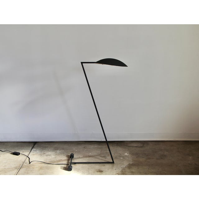 """A beautiful and unique """"Z"""" form cantilevered floor lamp, circa 1960s or 1970s, probably Dutch or Danish. The shade can be..."""