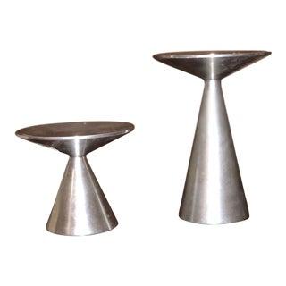 Bauhaus Style Mid-Century Modern Milled Aluminum Candlesticks - a Pair