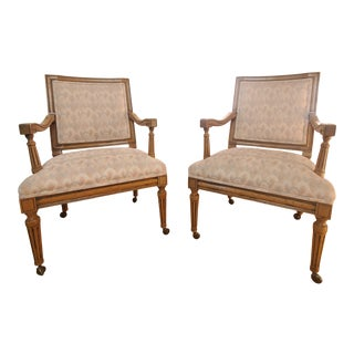 Vintage Baker Lounge Chairs With Casters - a Pair For Sale