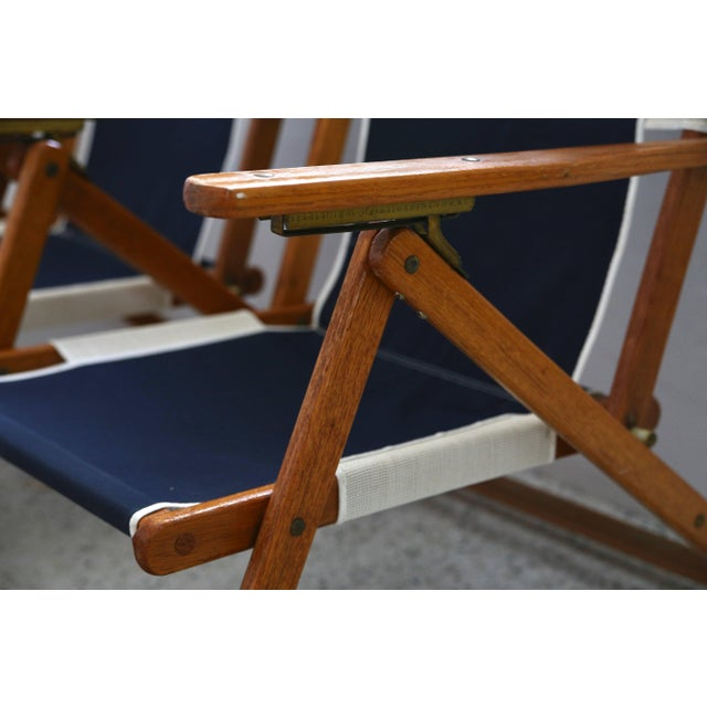 Wood Oakwood Deck Chairs With Blue and White Upholstery - a Pair For Sale - Image 7 of 10