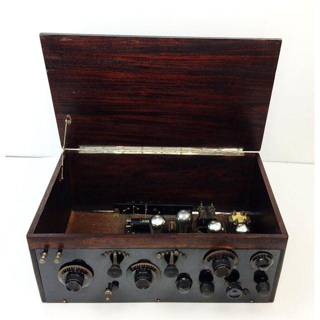 1920s 4 Tube Regen Wood Case Radio & C. Brandes Headphones - Image 4 of 10