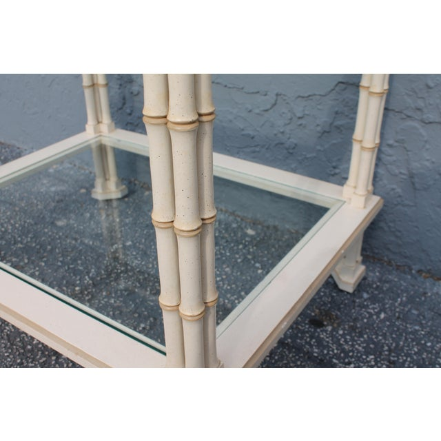 Faux Bamboo 1960s Hollywood Regency Triple Stalk Off White Faux Bamboo Accent/Side Table For Sale - Image 7 of 9