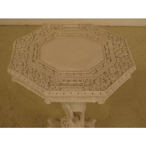 Chinese vintage highly carved detailed white painted occasional table. Features high quality construction and white...
