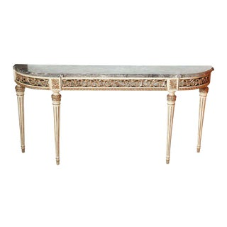 Louis XVI Style Silver Gilt and Creme Console, Maison Jansen For Sale