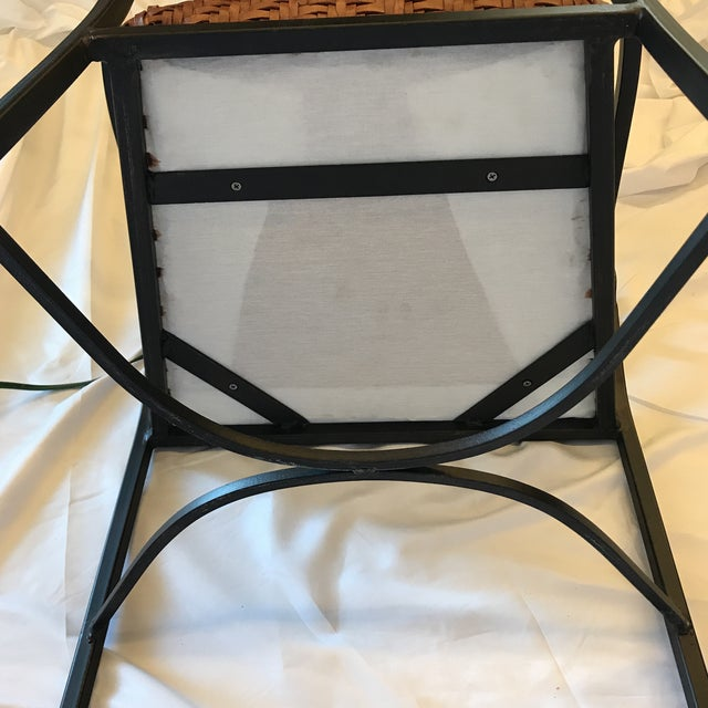 Animal Skin Iron and Woven Leather Bar Stools - a Pair For Sale - Image 7 of 12