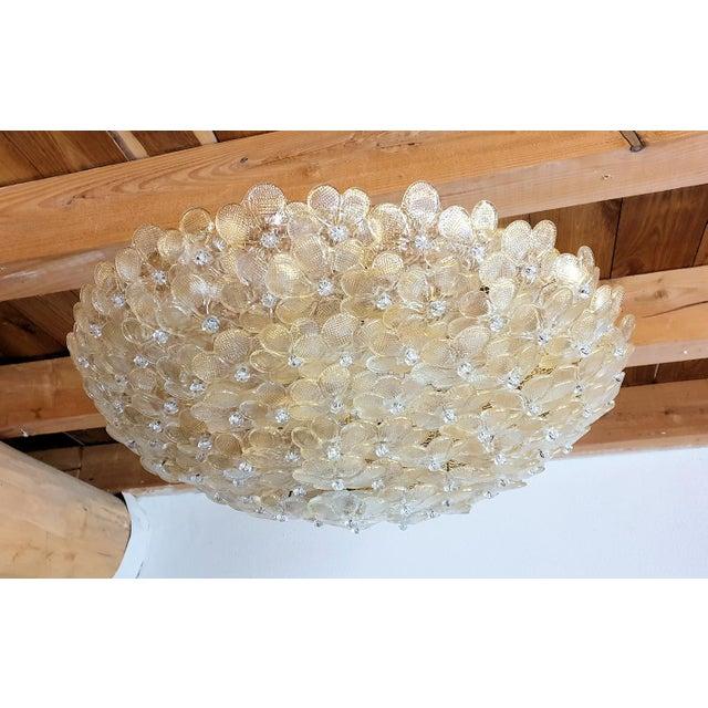 Mid-Century Modern 1970s Barovier Large Mid Century Modern Murano Glass Flower Flush Mount Light For Sale - Image 3 of 11