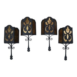 Spanish Wrought Iron and Mica Wall Sconces, S4 For Sale