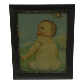 Circa 1920 Vintage Framed Original Baby Print For Sale