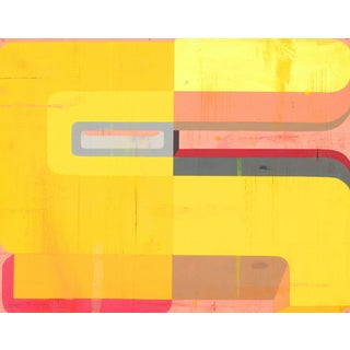 """Deborah Zlotsky """"Tres"""" Abstract Gouache Painting on Paper Yellow Colorful Bright For Sale"""