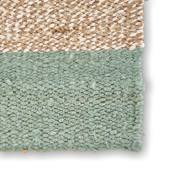 Contemporary Jaipur Living Mallow Natural Bordered Tan & Blue Area Rug - 9' X 12' For Sale - Image 3 of 6