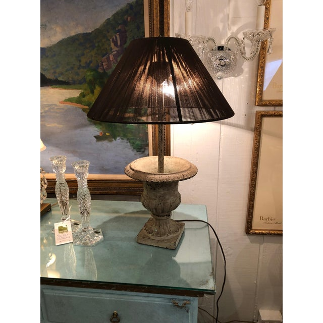 Iron Garden Urn Table Lamps - a Pair For Sale - Image 12 of 13