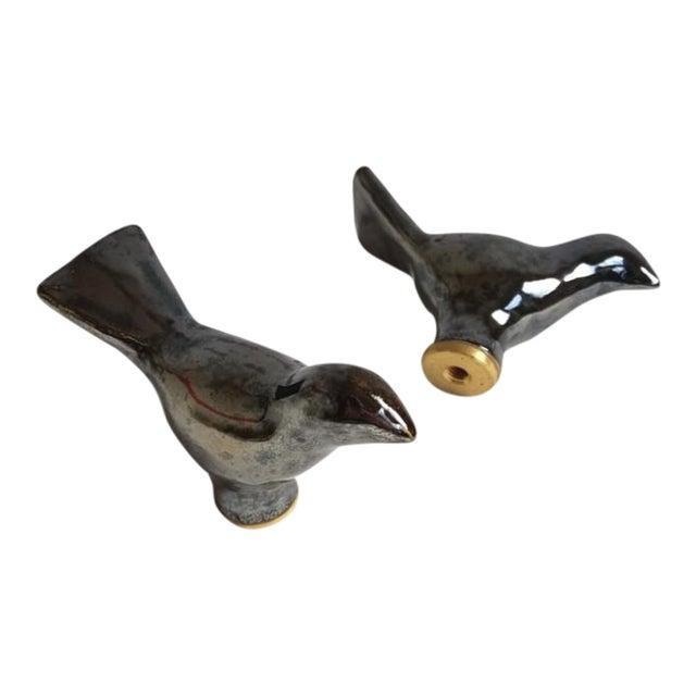 Handmade Ceramic Birds Lamp Finials - a Pair For Sale