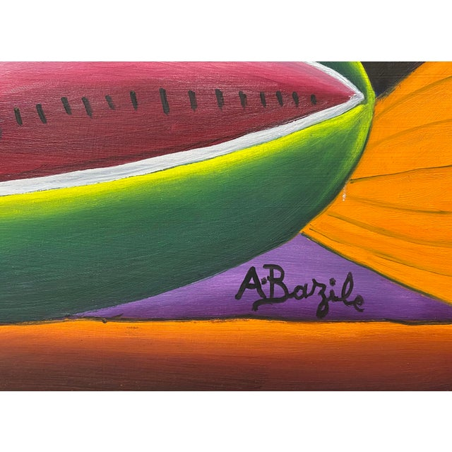 """Haitian Artist Alberoi Bazile """"Fruit"""" Still Life Oil Painting in Hand Carved Frame C.1970 For Sale In San Francisco - Image 6 of 13"""