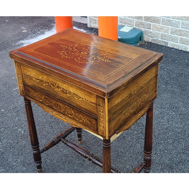 Late 19th Century Antique English Regency Inlaid Rosewood 19th Century Sewing Work Table C1890 For Sale - Image 5 of 13