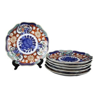 Blue & Orange Imari Dinner Plates - Set of 6 (Matching Demitasse Cup and Saucer Available)