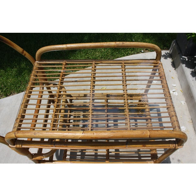 Vintage Bamboo and Rattan Bar Cart / Tea Cart For Sale - Image 5 of 8