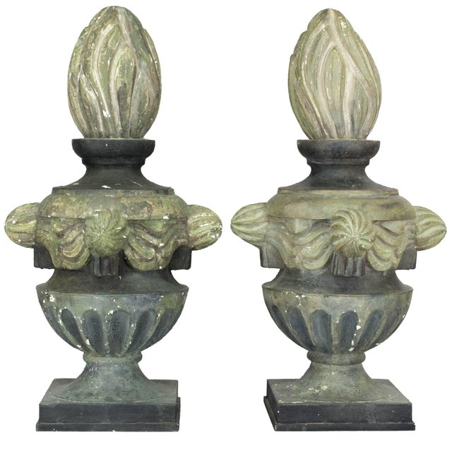 Pair of French Zinc Architectural Finials For Sale - Image 11 of 11